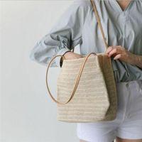 Storage Bags Women's Straw Handbag Woven Shoulder Bag Summer Beach Pouch Crossbody Shopping