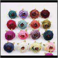 Guirnaldas decorativas Suministros festivos Home Gardentea Rose Bud 5cm Peony Fake Bridal Bouquets Seda Flores de seda Partido Decoración de jardín Decoración