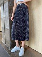 2021 New design women's elastic waist logo letter print pleated midi long skirt plus size SML