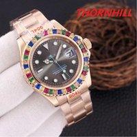 Male full automatic mechanical watch women men, colorful diamonds drilling blank log, 42mm double calendar,2813 movement, 316 fine steel