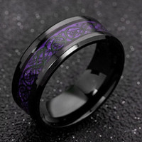4 Colors Noble Blue Red Carbon Fiber Dragon Rings 316l Stainless Steel Mens Jewelry Men Lord Wedding Band Male Ring for Lovers