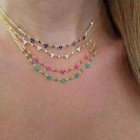 Pendant Necklaces Minimal Short Choker Women Micro Pave Red Blue Green White Three Stone Drop Cz Tiny Clover Necklace Engagement Fashion Jew
