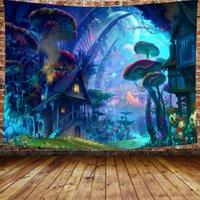 사이키델릭 버섯 숲 동화 숲 태피스 트리 야생 동물 포스터 룸 기숙사에 대 한 벽화