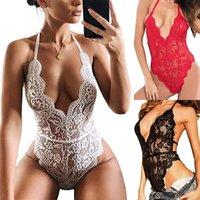 Sexy Dentelle Body Body Lingerie Femmes Mesh Sheer Halter Sleepwear Sleepwear Temptation Babydoll Sous-vêtements