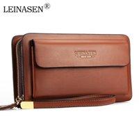 Brieftaschen Leinasen Marke mit Tasche Doppel Reißverschluss Männlich Lange Große Männer Münze Clutch Black Business