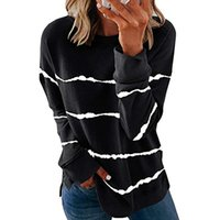 Ladies sweatshirts loose striped hoodies round neck split-neck outerwear autumn and winter casual tops oversized clothing 002