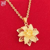 Ожерелья кулон Мода Мусульманское исламское ожерелье цветок Вьетнам Песок Золотая Водяная Волна Клавишечь Роскошные Турецкие Ювелирные Изделия
