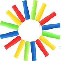 6 cores canudos de aço inoxidável manga silicone 4cm multicolor diâmetro interno 6mm luva de silicone anti colisão de dente hwc7229