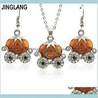 Pendentif Colliers Pendentifs Drop Livraison 2021 Jinglang Pumpkin Collier Boucles d'oreilles Ensembles Collier Collier Mode Bijoux S pour Femme Girl Enfant