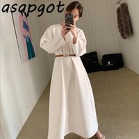 Chic Korean Elegant V Neck Loose Waist White Puff Sleeve Woolen Dress Long With Belt Temperament Casual Fashion Retro Vestidos Dresses