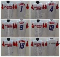 Puerto Rico Baseball Jerseys 2017 World Classic 1 Carlos Correa 4 Yadier Molina 9 Javier Baez Jersey 12 Francisco Lindor 15 Carlos Beltran.