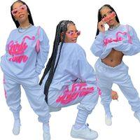 Casual Sport Tracksuit Suit For Women 2pcs O-neck Oversize Sweatshirt + Loose Trousers Letter Graffiti Tracksuits