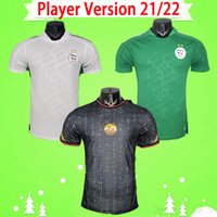 Versión del jugador 2021 2022 Argelia Fútbol Jersey Argelia 21 22 Mahrez Atal Feghouli Slimani Brahimi Home Away White Blanco Bennacer Hombres adultos Camisa de fútbol