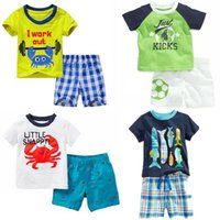 Crab Fish Boy Vêtements d'été Enfants 2PCS Vêtements Vêtements Plage Suit Enfants Outfit Sport Sport 100% coton Tops de coton Pant Pantalon Tracksuit Jersey 210413