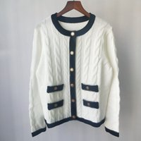 Shipping Free 2021 Autumn White Black Solid Print Autumn Women's Cardigan Brand Same Style Women's Sweaters DH1901