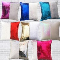 favor 12 colors Sequins Mermaid Pillow Case Cushion sublimation magic sequinss blank pillowes cases transfer printing DIY personalized