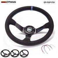 Epman -New Auto 350mm Dish Drift Racing Racing Wheel Wheel Cuero de gamuza con botón de cuerno EP-FXP1701