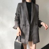 Women's Jackets Korean Chic Women Vintage Plaid Jacket Elegant Turn-down Collar Long Sleeve Loose Suit Outerwear Female Fashion Pockets
