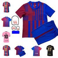 21/22 Barca Ansu Fati Soccer Jerseys Training 2021 ميسي Grizmann F.de Jong Coutiniho Alba Braithwaite Kids Kids Kits Football Jersey