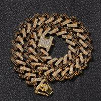 Hip Hop Bling Chains Jewelry Men LeCed Out Catene Collana Gold Argento Nero Diamante Blu Diamante Miami Cuban Collegamento Catene 304 N2