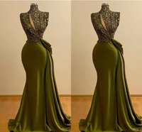 Olive Green Evening Dresses African Plus Size Mermaid Sparkly Sequins High Neck Sweep Train Satin Prom Party Gown Formal Occasion Wear vestidos 2022 Desinger