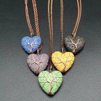 Árbol de la vida Alambre de cobre envuelto Corazón Lava Piedra Esencial Aceite Difusor Collar Aromaterapia Piedra Collar Joyería