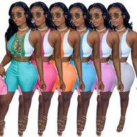 Designer 2021 Frauen Sommer Neue Mode Temperament Freizeit Farbe Kontrast Splicing Strap Aushöhlen Zwei Teile Sets Sleeveless Weste Shorts Outfits
