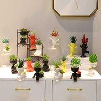 Симпатичные моделирования гуманоидной керамической портретной куклы мясистый горшок цветочная композиция ваза украшения дома