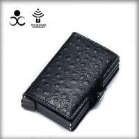 Wholesale Money Clips Pu ostrich double box aluminum alloy automatic elastic card bag metal WALLET