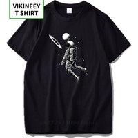 EU Size Men T Shirts 100% Cotton Funny Design Astronaut Play Moon In Basket Gift High Quality Soft Tshirt Slim Fit Streetwear 210420