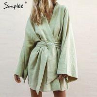 Simple Style japonês V Neck Mulheres Vestido de Algodão Sólido Branco Sashes Feminino Vestido Verão Casual Verde Beach desgaste senhora 2019 y6do #