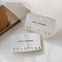 Stud Fashion Daily Wearing Temperament Simple Multi Pack Diamante Pearl Heart Earring Set 2403
