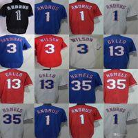 Billig Herren Womens Kinder Kleinkinder 13 Joey Gallo 1 Elvis Andrus 35 Cole Hamels 3 Russell Wilson Weiß Rot Blau Baseball Jersey
