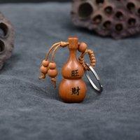 Wangcai pêssego madeira cabaça pingente colar acessórios lettering twee zodiac carro chaveiro