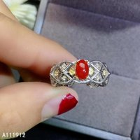 Cluster Rings KJJEAXCMY Fine Jewelry Natural Red Coral 925 Sterling Silver Women Gemstone Ring Support Test Fashion