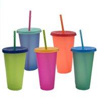 Bardaklar Tabaklar 1/5 ADET Renk Değiştirme Plastik Tumblers, Kapaklı Yeniden Kullanılabilir Renklendirme Kupası ve Saman