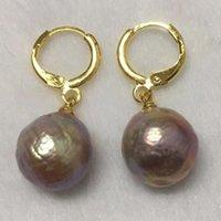 13-16mm d'énormes boucles d'oreilles de perles baroque sud de la mer 18K Twopin violet violet hypnotisme dangler oreiller AAA