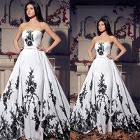 New Strapless Lace Applique Lace Up Back Long Bridal Gowns Vintage Black And White Wedding Dresses vestidos de novia