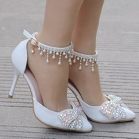 Sandals Female crystal queen sandals, sexy stilettos with luxurious strass tassels for wedding reception, ankle shoes. 9ST9