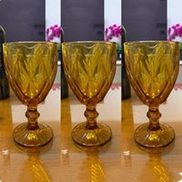 3pcs Amber Relief Wine Glasses Drinking Goblet Wedding Banquet Party Cups Retro Diamond Juice Glass Beverage Cup 300ml 10oz