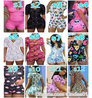 Frauen Trainingsanzüge Designer Jumpsuit Pyjama Onesies Nachtwäsche Spielanzug Trainingsknopf Skinny Cartoon Buchstaben Gedruckte Hosen V-Ausschnitt Kurze Strampler