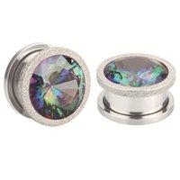 Alisouy 2pc rostfritt stål toppkvalitet kristall zircon öron tunnlar plugg skruv passform färgstarka öron köttmätare öron expanderare smycken 1881 Q2