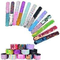 Mode bijoux Deux couleurs Sequins réversibles Snap Snap Enfants Sirène Bracelet Bracelet Bracelet Enfants Garçons Filles Jouets Jouets Fête Z3015