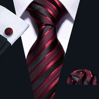 Ties Male Luxury Neck Tie for Men Business Red Striped 100% Silk Set Barry.wang Fashion Design Neckwear Dropshipping Ls-5022