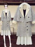 Women's Two-piece dress Fashion Suit Plus Size two piece sets Slim-fit thicken wool Fat Girl's overskirt Concinnity Skirt Chequered Stripe petticoat M-4XL