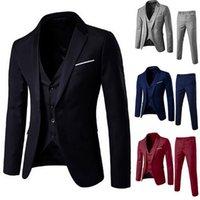 2020 homens 3 peças blazers terno conjuntos homens preto cinza vermelho clássico negócio blazer + colete + conjuntos formais para festa de casamento1