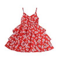 Kids Girls Sleeveless Daisy Print Dress Stylish For Children...