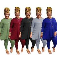 Plus Size Donne TrackSuits Manica lunga Pantalone a maniche lunghe 2 pezzi Set New Fashion Womens Posizionamento di grandi dimensioni 3XL 4XL 5xL Stampa a colori solido Vestito casual D380