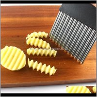 Kitchen Knives Accessories Kitchen, Dining Bar Home & Garden Drop Delivery 2021 Crinkle Chips Vegetable Wavy Blade Cutter Potato Chipper Stai