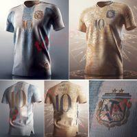 2021 2022 الكبار الأرجنتين مفهوم كرة القدم جيرسي مارادونا شارة خاصة العناصر الذهبية 10 ميسي لكرة القدم قميص